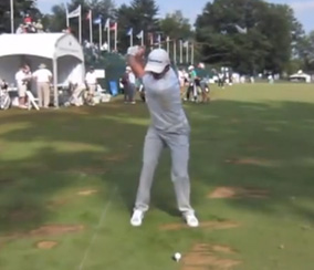Justin Rose on the top of his backswing