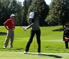 Michelle Wie on her way down to the ball.