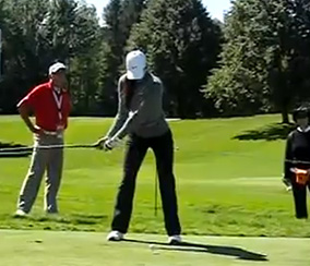 Michelle Wie performing her takeaway.