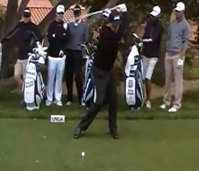 Phil Mickelson at the top of his backswing.