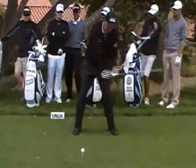 Phil Mickelson during his downswing.