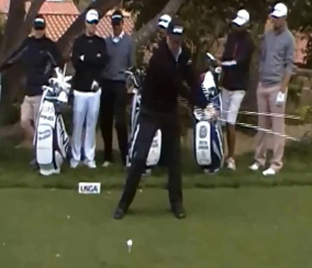 Phil Mickelson loading his backswing with his takeaway.