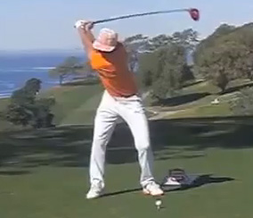 Rickie Fowler at the top of his backswing position.