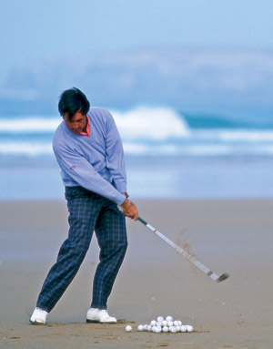 Seve practicing at the beach like he often did in his youth.