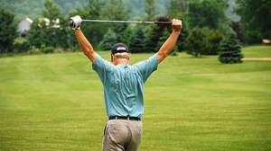Do a little warm up before playing golf.