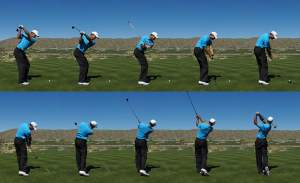 Here you can see how Tiger Woods keeps his spine angle throughout the swing. Even in his finish position his spine is almost at the same angle it was at setup.