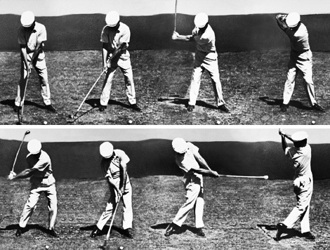 Ben Hogan performing his famous swing with perfect timing.
