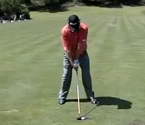 Jason Dufner starting with his unorthodox setup.