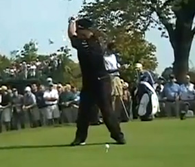 K.J. Choi fully coiled in his backswing.