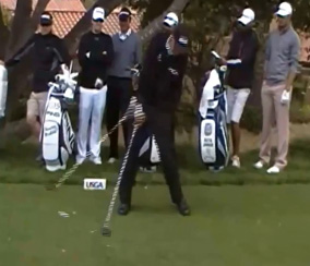 Phil Mickelson just after impact.