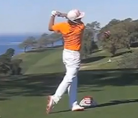 Rickie Fowler in his finish position.