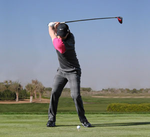 Here's Rory McIlroy as an example. Maximum torque but keeping his head relatively level with his eyes focused on the ball.