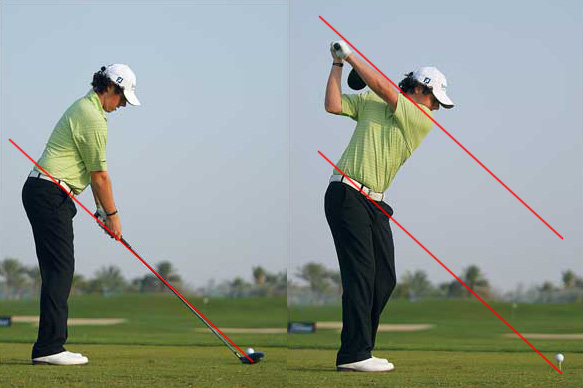 Rory McIlroy at Address and at the top of his backswing.